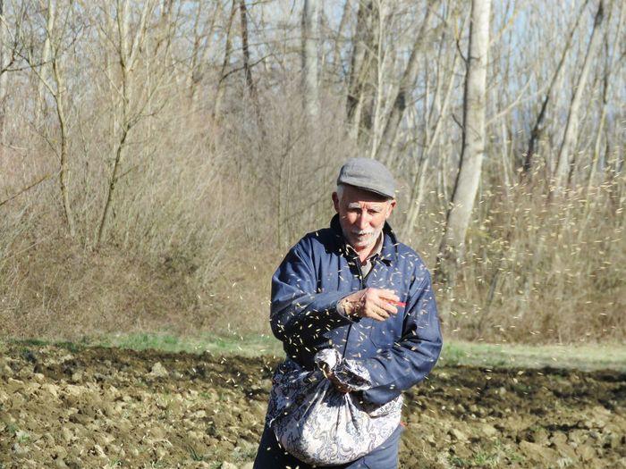 Senior man spreading seeds in farm