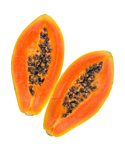 Close-up Cross Section Cut Out Food Food And Drink Freshness Fruit Halved Healthy Eating Healthy Lifestyle No People Orange Color Papaya Seed SLICE Studio Shot Vibrant Color White Background