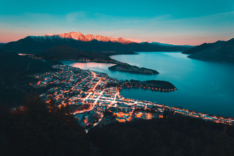 Aerial View Bay Beauty In Nature Cloud - Sky High Angle View Idyllic Illuminated Land Mountain Mountain Range Nature No People Outdoors Scenics - Nature Sea Sky Sunset Tranquil Scene Tranquility Water
