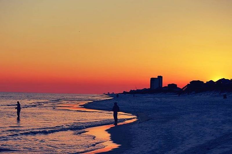 The fishermen make for great pictures of shadow figures - - Sunsetlovers Sunset Peace Peaceful Sweet Amazing Beach Navarre Nikion Sunsets Exloring Like4like Likeforlike Photographer Photography Photos Fisherman Waves Shadows Adventure Walking Exploring The Great Outdoors With Adobe Beach Photography