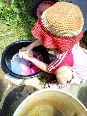 Little woman at the laundry Girl Working Girl Child Childhood Work And Play  Soap Laundry Close-up Working People Summer Hands Hands At Work Hat Panama Hat Handwash Basin Water Bucket Home Is Where The Art Is At Work