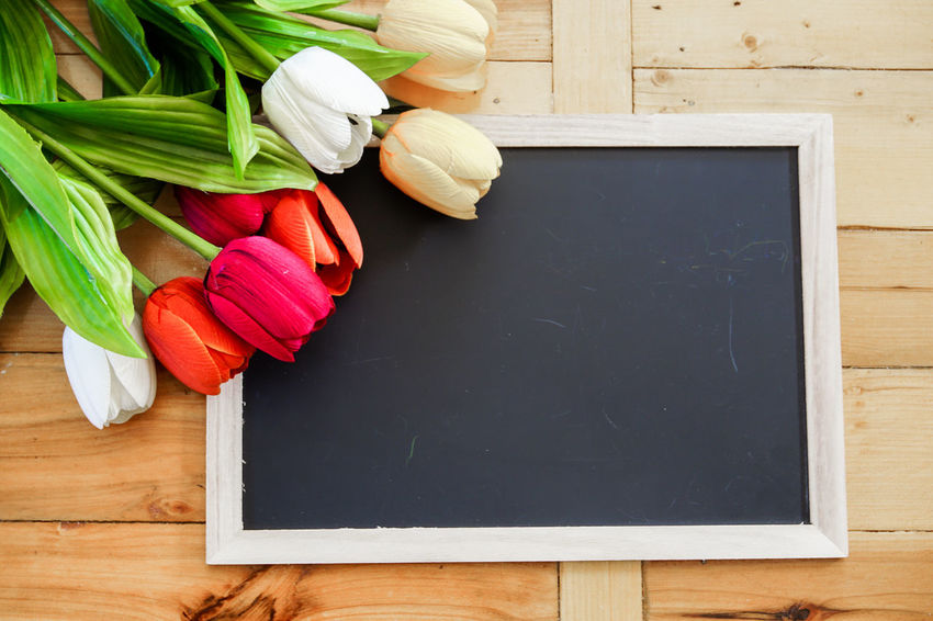 Blackboard  Close-up Day Directly Above Flower Food Food And Drink Freshness Healthy Eating High Angle View Indoors  No People Table Vegetable Wood - Material