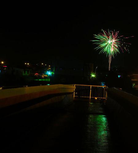 Fireworks Trinidad And Tobago Architecture Firework Firework Display Illuminated Long Exposure Longexposure Motion Night No People Outdoors Sky Rainy Days Rainynights Rainy Days☔ Rainy Reflections
