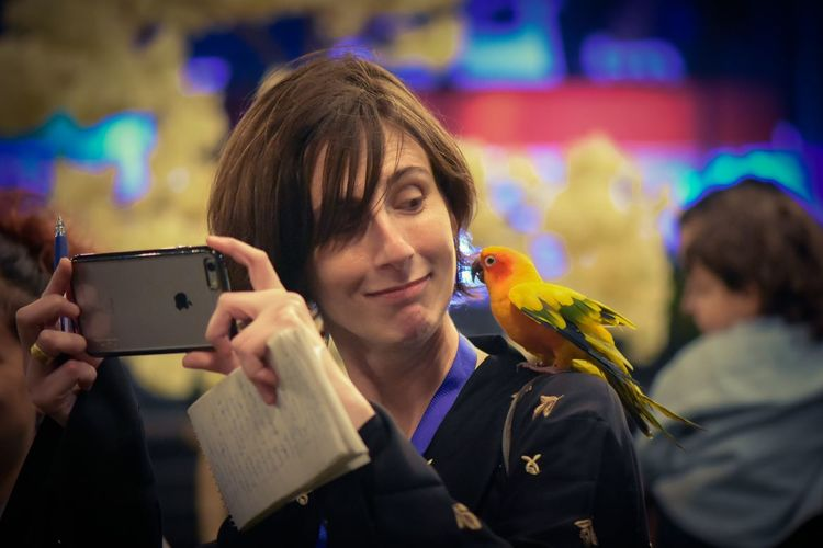 Portrait of woman holding smart phone