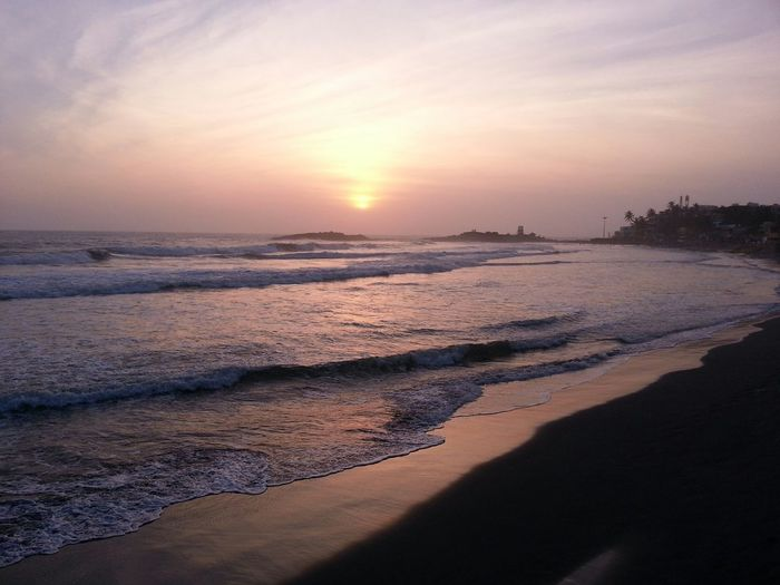 Sunset Kovalam light house beach