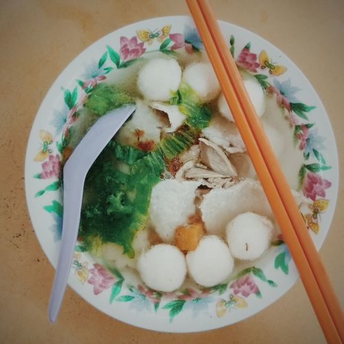 No People Food Table Close-up Chopsticks Flat Noodle Soup Fish Ball Slices Of Meat Vegetable Asian Food Kway Teow