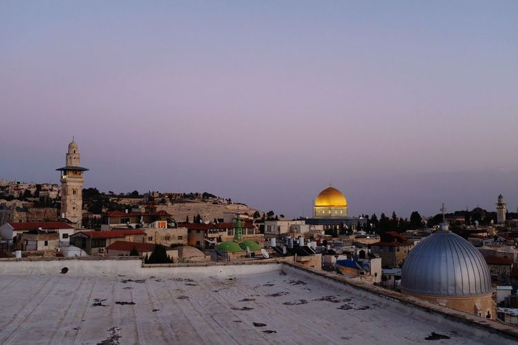 Jerusalem's old city and Al Aqsa Mosque. Muslim Jerusalem Christian City Politics And Government Dome Place Of Worship Spirituality Sunset Religion History Cityscape Sky Cupola Tomb Pilgrimage Old Town Civilization Monastery
