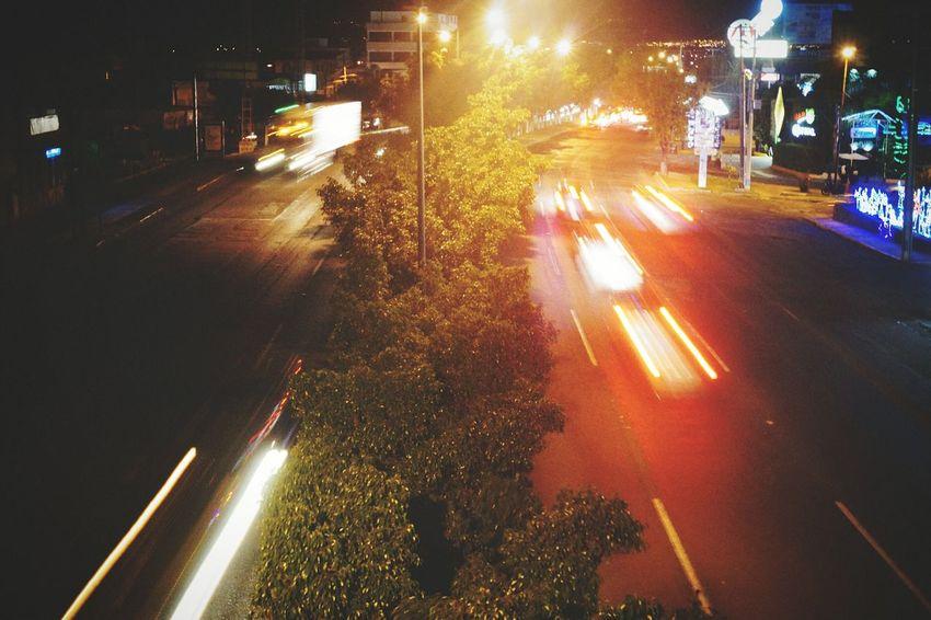 Transportation Car City Traffic No People City Life Illuminated Street Light City Street Light Trail Speed Road Motion Outdoors Street Night Nightlife