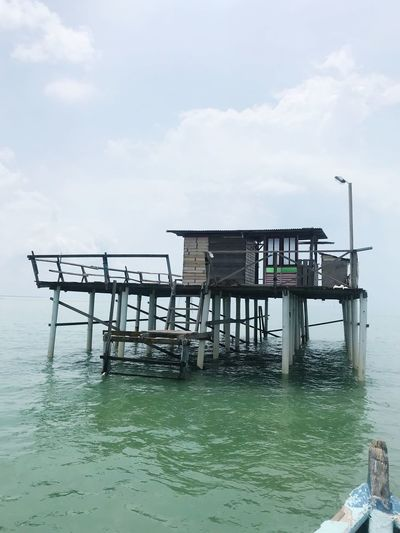 Kelong fish port , Malacca Water Sea Built Structure Stilt Architecture Sky Day Cloud - Sky Outdoors Horizon Over Water Scenics Nature No People