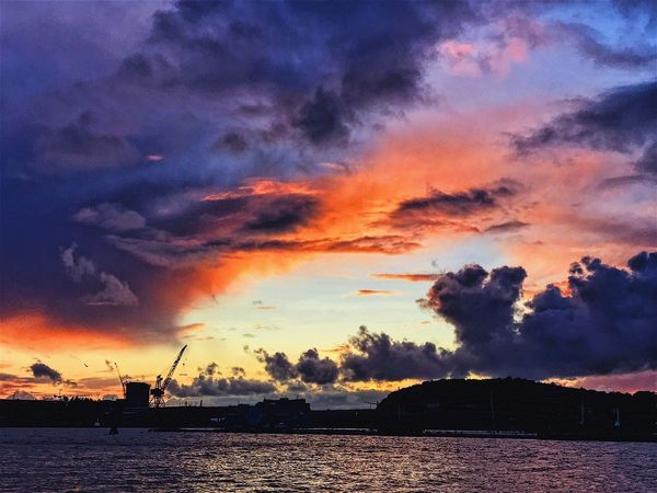 Sunset Cloud - Sky Sky Silhouette Water Scenics Outdoors Nature No People Beauty In Nature Waterfront Sea Fuel And Power Generation Industry Tranquility Wind Power Built Structure Nautical Vessel Wind Turbine Building Exterior Gothenburg Goteborg Götaälv