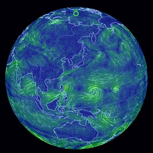 台風の目 3つ! 10号と11号は増幅しあうのかな? Nullschool Earth Typhoon Blue