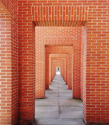 Entrance of red brick wall