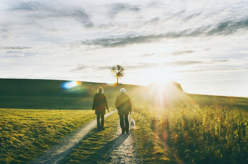 Man And Woman Walking On Pathway Amidst Grassy Field During Sunny Day