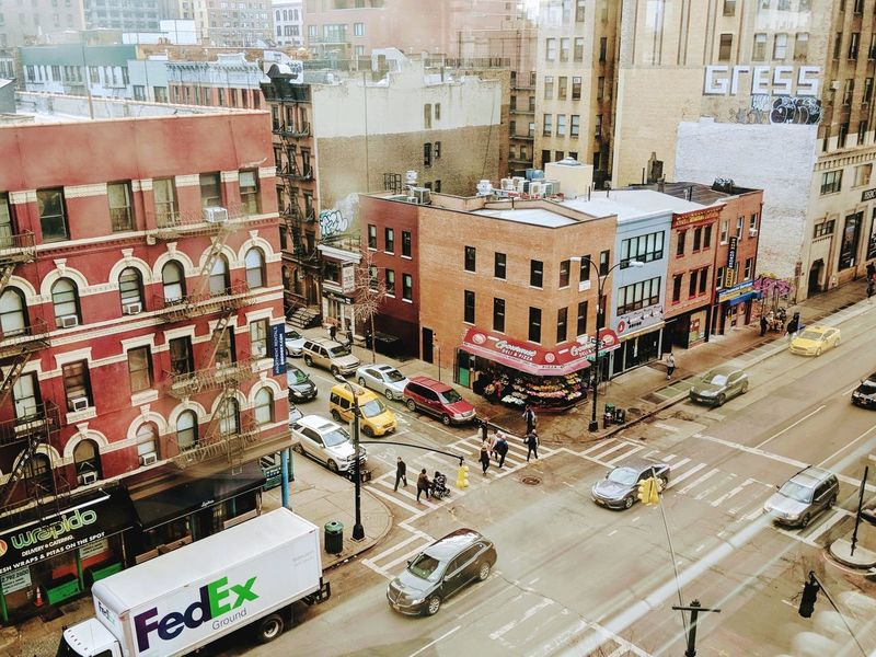 NYC City Road Street Car High Angle View Land Vehicle Architecture Building Exterior