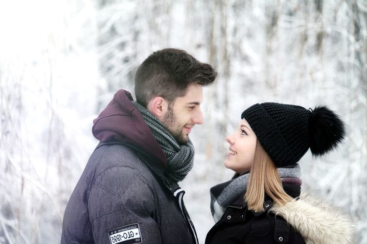 Love Couple Relationship Wife Husband 2018 Happiness Smile December Photoshoot Together White Snow Lovely Warm Clothing Friendship City Young Women Men Cold Temperature Togetherness Winter Women Knit Hat Snowing Scarf Overcoat Snowfall Blizzard Cold
