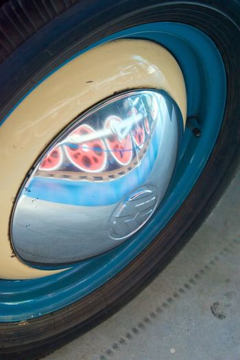 Close-up Car Reflection Motor Vehicle Mode Of Transportation Land Vehicle Transportation No People Headlight Blue Glass - Material Retro Styled Technology Day Single Object Vintage Car Focus On Foreground Outdoors Circle Metal Chrome Wheel Reflection Car Meets Train My Best Photo