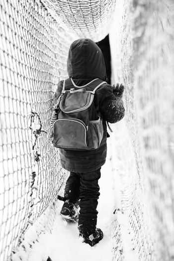 Blackandwhite Boy Child Day Full Length Leisure Activity Lifestyles One Person Outdoors People Real People Rear View Young