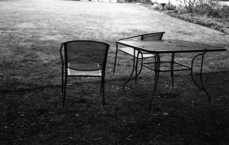 garden furniture Rollei35 Film Photography Filmisalive Chair Seat Table Empty Absence Grass
