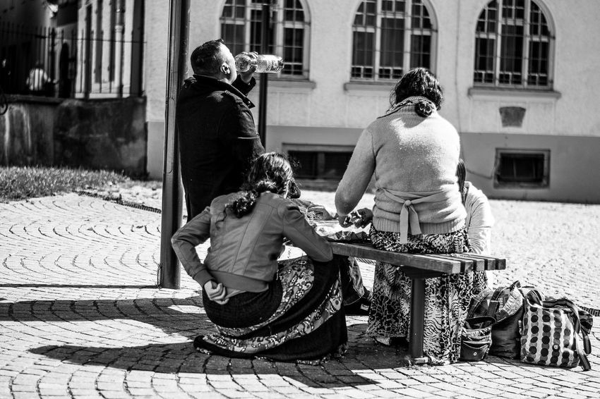 Blackandwhite Bonding Casual Clothing City Day Family Family With One Child Full Length Grunge Lifestyles Love Men Mother Person Pushing Rear View Riding Single Mother Sitting Son Street Streetphotography Sunlight Togetherness