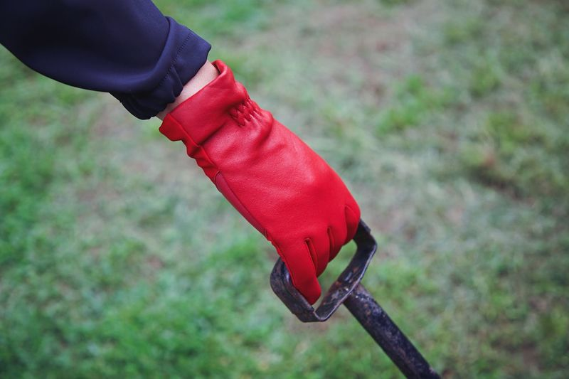 Focus On Foreground Red Hand Human Hand Human Body Part Real People One Person Day Close-up Holding Glove Metal Lifestyles Nature Land Outdoors Unrecognizable Person Field Leisure Activity Human Limb