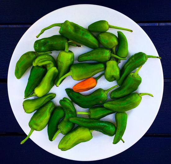 High angle view of vegetables in plate