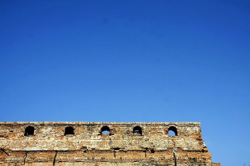 Damaged Building Roof Brick Wall Bricks Brick Building Gothic Blue Sky EyeEm Best Shots Detail