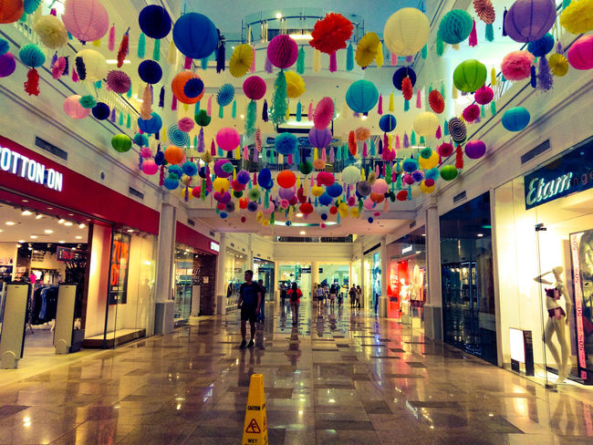 Colorful decorations 💕 Love Is Love City Multi Colored Illuminated Architecture Built Structure Ceiling Architectural Design Crowd Lantern