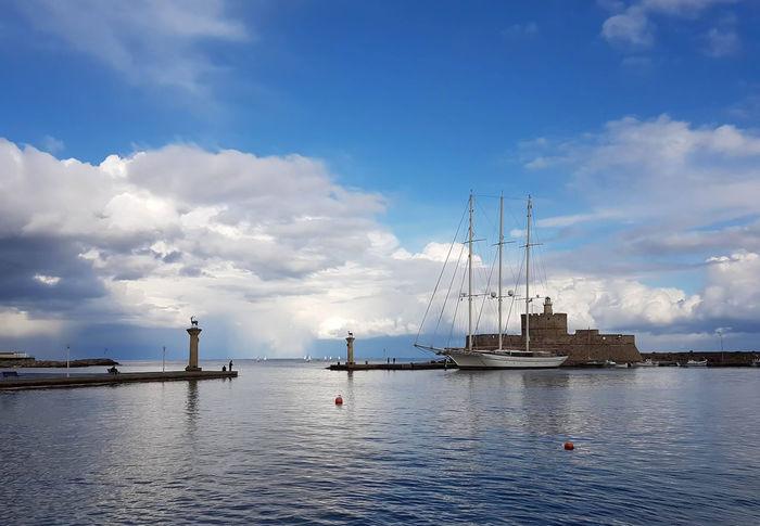 Cloud - Sky Day Harbor My Island ❤️ Nautical Vessel No People Outdoors Sailboat Sailing Sailing Ship Sea Ship Shipping  Sky Transportation Travel Destinations Water