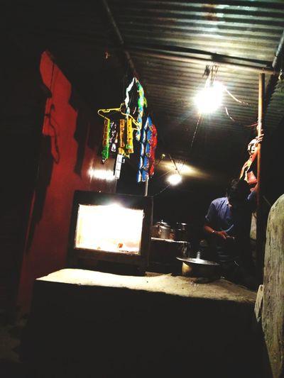 Roadside Teastall Cutting Chai Outdoors Nighttime Ramdomclick Shot On Phone