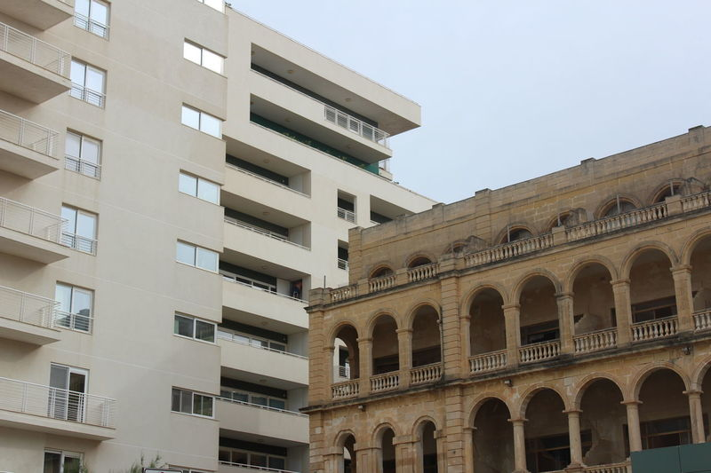 Architecture Building Exterior Built Structure City Day Low Angle View Malta No People Old Buildings Oldmeetsmodern Oldmeetsnew Outdoors Sky