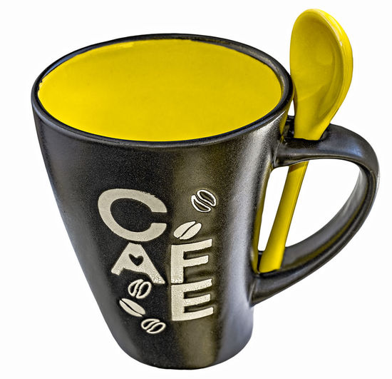 Empty black and yellow ceramics mug of coffee with yellow ceramics spoon Black Mug Ceramic Art Ceramic Cup Ceramic Mug Close-up Cup Of Coffee Cut Out Drink Mug Coffee No People Studio Shot White Background Yellow Yellow Cup