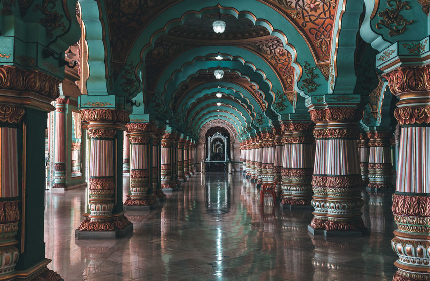 interior view of the Mysore palace... Travel Shadow Shadows & Lights Indoors  Karnataka Travel Destinations History Palace Mysore India Cultures Perspective Tourism Built Structure Architectural Column Arch History Architecture Built Structure Architectural Design Ceiling Architecture And Art Pillar Arched Column Chandelier The Architect - 2018 EyeEm Awards The Traveler - 2018 EyeEm Awards