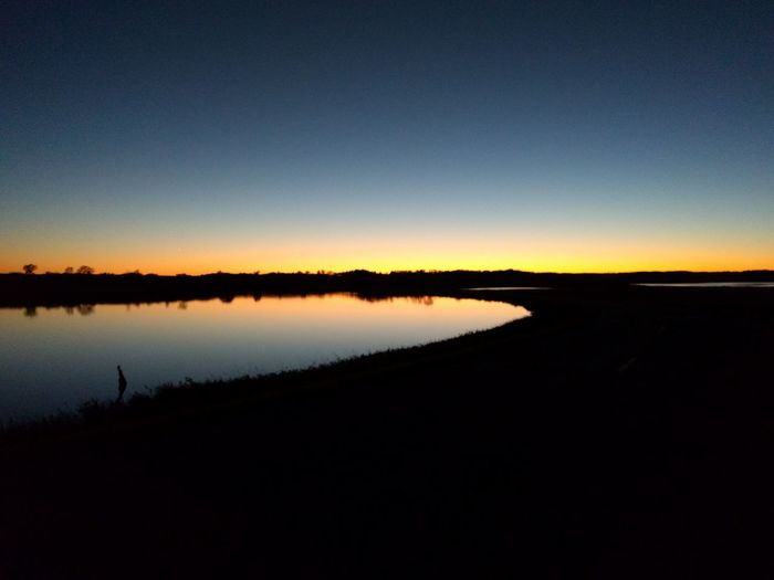 Sometimes you need to pull over your car and pull out your camera. Sunset Tranquility Water Reflection Dark Rural