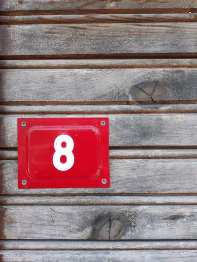 Streetphotography Doornumber Eight Musato Red Textured  Number Close-up Wooden