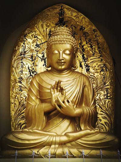 The enlightenment #power #divine #life #peace Statue Religion First Eyeem Photo Golden Color Sculpture Buddha Golden
