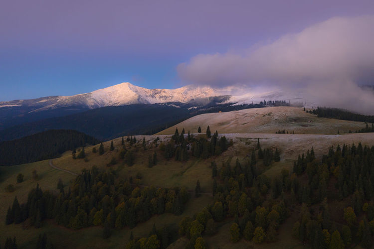amazing autumn landscape with snow on the mountains, I guess is the beginning of everything. Autumn Colors Drone  EyeEmNewHere Nature Romania Travel Aerial Aerial Landscape Aerial Photography Aerial View Beauty In Nature Before Sunrise Between Season Drone Photography Dronephotography Droneshot Landscape Mountain Mountains Muntii Rodnei No People Non-urban Scene Scenics - Nature Snow