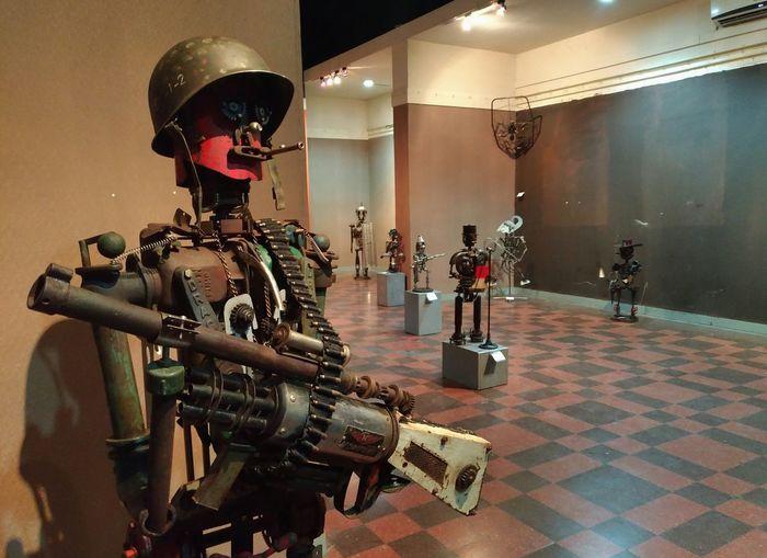 Junk metal art - Tentara Indoors  One Person Metal Sculpture Junk-art Surabaya Exhibition Art Inonesia Indoors  No People