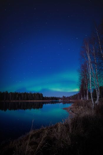 Auroras with moonlight Night Sky Scenics - Nature Star - Space Water Astronomy Beauty In Nature Tranquil Scene Tranquility Nature No People Idyllic Outdoors Weather Aurora Borealis Northern Lights Reflection River Blue Lapland Finland Landscape Moonlight Nature_collection Travel