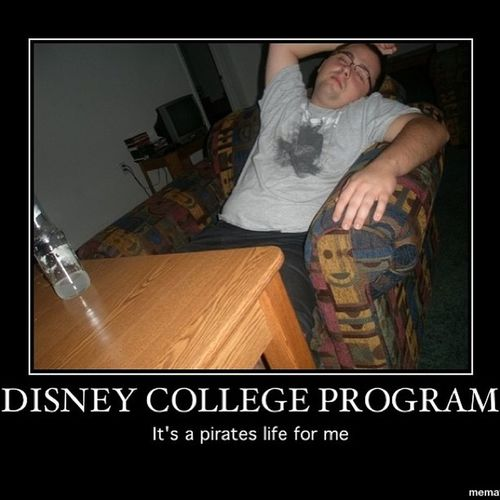 2009 Disney College Program. Daily routine after work. Drink up me hearties yo ho!!TBT  Dcp Disney