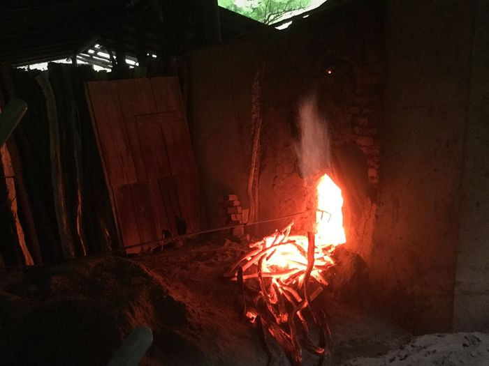 Burning Fire Fire - Natural Phenomenon Heat - Temperature Indoors  Glowing Flame Working