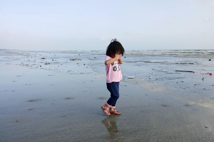 morning stroll Landscape Morning Ocean Childhood Beach Child Horizon Over Water Sand Water Sky Outdoors One Girl Only EyeEmNewHere