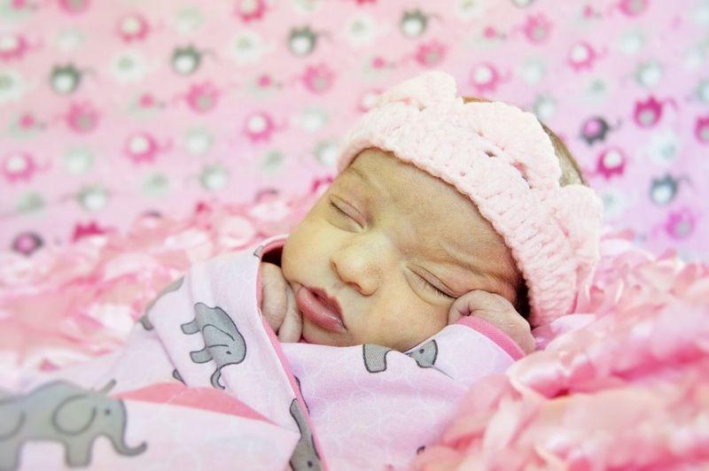 Child Eyes Closed  Sleeping Newborn Baby Cute Fragility Dreamlike Wrapped In A Blanket Pink Color Indoors  Beginnings Babyhood Children Babysleeping Detroit Girl Innocence Childhood Crown NewBorn Photography