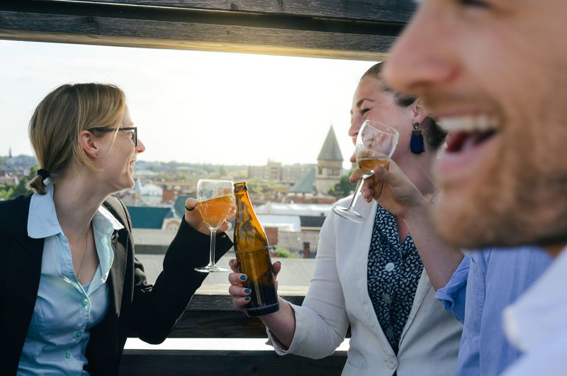 Afterwork Afterwork Beer Beer Business Celebration Happiness Rooftop Alcohol Business People Cheering City Drink Drinking Food And Drink Friendship Joy Leisure Activity Lifestyles Real People Rooftop Bar Rooftop View  Smiling Success Togetherness Wine