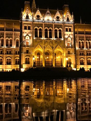 Night Architecture Illuminated Reflection Building Exterior Built Structure PalaPhoto Sheen Hungary Budapest Beautiful Parliament Parlament Of Hungary Tourism Water Reflection Reflections In The Water The Week On EyeEm Visual Creativity
