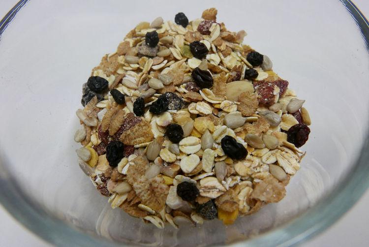 Close-up of muesli served on table