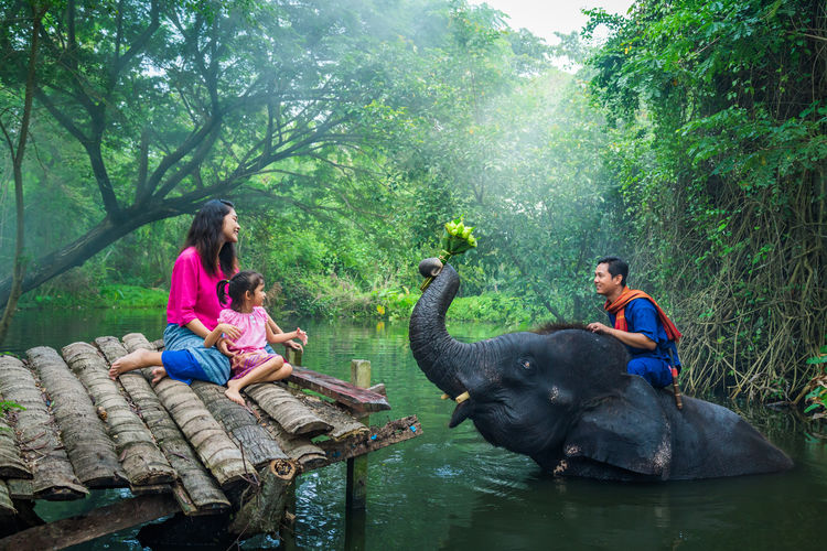 Mother and daughter sitting on pier while father sitting on elephant in lake