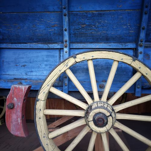Wagon Wheel Wood - Material Wagon Wheel Wheel No People Day Outdoors Close-up Blue Yellow