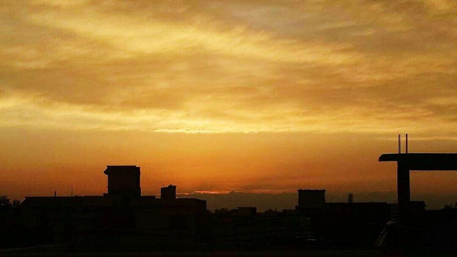 Sunset Sky City Orange Color Atmosphere Sun Set View