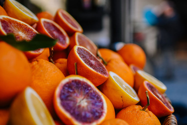 Close-up of citrus fruits for sale in market