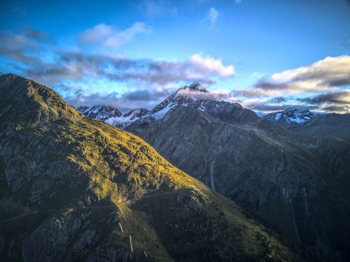 Mountain Beauty In Nature Nature Outdoors Tranquility Mavic No People Swiss Mountains Drone  Engiadina Dronephotography EyeEm Nature Lover Golden Hour Swiss Alps Morning Light Power In Nature High Angle View Dji Silence Sunrise Landscape Cold Temperature Lost In The Landscape